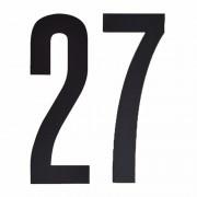Merkloos Naamsticker cijfer 27 zwart