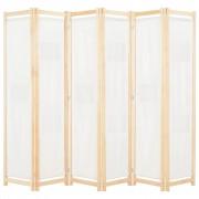 vidaXL Parawan 6-panelowy, kremowy, 240 x 170 x 4 cm, tkanina