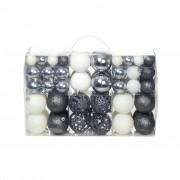 vidaXL Комплект коледни топки от 100 части, 6 см, бели/сребро