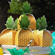 AerWo 48 Pcs Pineapple Favor Boxes Summer Party Favors Popcorn Box for Tropical Theme and Hawaiian Decorations