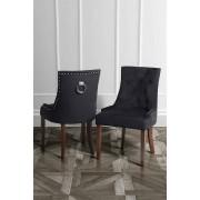 My-Furniture TORINO Esstischstuhl mit Rückenring - Schwarzer Samt - Beine in Nussbaum