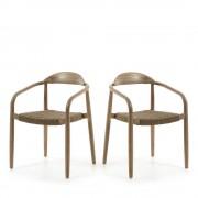 Nina - 2 chaises en eucalyptus et corde - Couleur - Beige