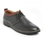 TEN Black Leather Casual Shoes Casuals For Men(Black)