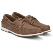 Clarks Fulmen Row Tan Leather Boat Shoes For Men(Brown)
