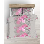Kétszemélyes 100% pamut 5 részes ágynemű huzat 200x220 cm - vintage rózsás