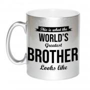 Bellatio Decorations Zilveren Worlds Greatest Brother cadeau koffiemok / theebeker 330 ml