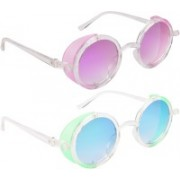 NuVew Round, Shield Sunglasses(Green, Blue, Violet)