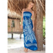 Bandeau Maxi Dress Cover-Up Cover-ups - White/blue/multi