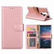 Luxe Lederen Bookcase hoesje voor de Nokia 8 Sirocco - Metallic Roze