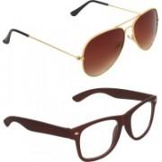Zyaden Aviator Sunglasses(Brown, Clear)