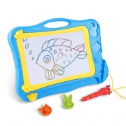 DUTISON Magnetic Drawing Board Doodle Sketch for Kids Colorful Sketching Erasable Pad with 2 Stamps and 1 Pen Children Girls Boys (Blue)