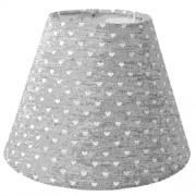 Clayre & Eef 6LAK0404 Textil lámpabúra 17x13cm, szürke fehér szivekkel