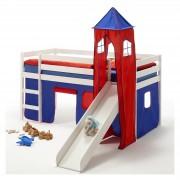 IDIMEX Rutschbett BENNY, Turm+Vorhang in blau/rot