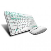 Комплект клавиатура и мишка Rapoo 8000M, безжични, BT 3.0/4.0/2.4GHz, мишка (1300 dpi), нископрофилни клавиши, бели, USB