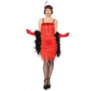 Deguisetoi Déguisement charleston rouge à franges femme - Taille: M