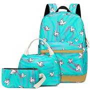CAMTOP Teens Backpack for School Boys Girls School Bookbag Set Travel Daypack (A003 backpack set/Teal)