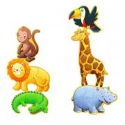 DJECO Puzzle podłogowe zwierzęta egzotyczne 6 szt. 130 cm! - Marmoset i przyjaciele, DJ07114