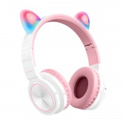 PICUN LUCKY CAT Style LED Color Changing Wireless Bluetooth Headsets with Mic - White
