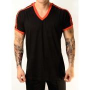 Whittall & Shon Athletic Shoulder Stripes V Neck Short Sleeved T Shirt Black/Red 168