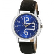 Silver Bell Round Blue Dail Black Leather Strap Analog Watch For Mens