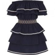 River Island Marineblauwe bardot jurk met gesmokte taille en ruches voor meisjes