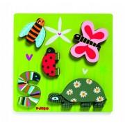 DJECO Drewniana układanka zwierzęta na łące, puzzle drewniane Kimi DJ01025