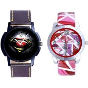 Black-Red Dial And Multi Pink Art Couple Analogue Watch By Ganesha Exim