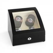 MATTERHORN навиваща витрина за часовници режим напред и назад 4 часовника черна ръчна изработка