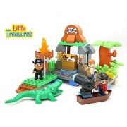 Play & Create Pirates Island Building block 63 pieces Duplo compatible toy set for preschooler kids