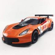 Kinsmart Chevy Corvette C7 Race Car #3, Orange w/ Decals - 5397D 1/36 Scale Diecast Model Toy