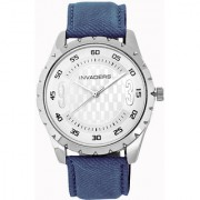 Invaders Round Blue Leather Quartz Watches for Men's