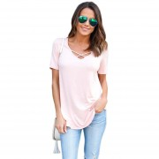 Top Blusa Suelta Manga Corta De Camisa Ahuecada Casual V-cuello Cruzado -Rosa