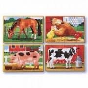 Дървен пъзел 4 в 1 Животни от Фермата Melissa and Doug, 000772137935