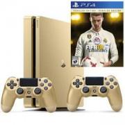 Конзола PlayStation 4 Slim, 500GB, Два геймпада, Златист+Игра FIFA 18 Ronaldo edition за Playstation 4