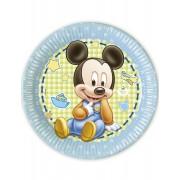 8 Pratos cartão Bébé Mickey 23 cm