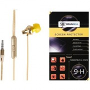 BrainBell COMBO OF UBON Earphone MT-44 POWER BEAT WITH CLEAR SOUND AND BASS UNIVERSAL And LG STYLUS 2 Tempered Guard