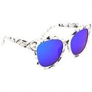 HRINKAR Men's Blue Mirrored Round Sunglasses