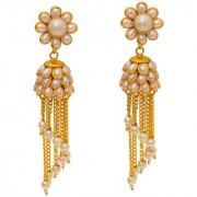 Jewar Mandi Earring Pearl Polk Gold Plated Look Gemstones Dangle Jhumka/Jhumki Jewelry for Women Girls 8261