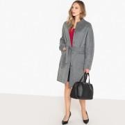 Manteau mi long sans col en mélange laine