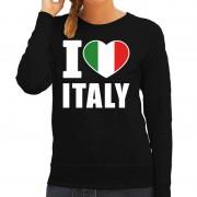 Bellatio Decorations I love Italy supporter sweater / trui zwart voor dames XS - Feesttruien