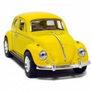 6th Dimensions Yellow 1967 Classic Die Cast Volkswagen Beetle Toy with Pull Back Action