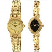 HWT Round Golden Dail And Black Oval Dial Gold Metal Analog Watch Combo For Women