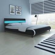 vidaXL Pat piele artificială cu bandă LED, 180 cm+Saltea din spumă cu memorie