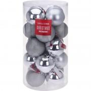 Geen Zilveren kerstversiering kerstballenset kunststof 12 cm