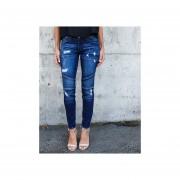 Pantalones Vaquero Para Mujer De Elásticos Con Mucho Huecos - Azul Oscuro