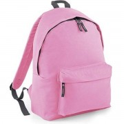 Bagbase Roze met grijze schooltas met voorvak