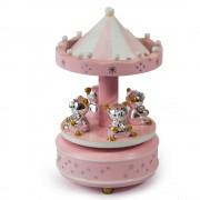 Carusel roz, cutie muzicala, cu 4 ursuleti