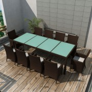 vidaXL Set mobilier de exterior 21 piese, poliratan, maro