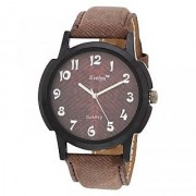 Evelyn Round Dial Brown Fabric Strap Quartz Watch For Men