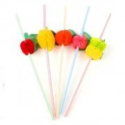 Paie din Plastic cu Fructe OTI, 250x5 mm, 100 Buc/Set, Multicolor, Paie Ornamentale cu Fructe, Paie Fantezie, Paie Decorative, Paie pentru Petreceri, Paie cu Ornamente, Articole pentru Aniversari si Petreceri, Paie pentru Cocktail
